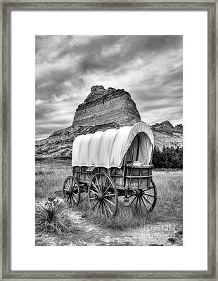 On The Oregon Trail 3 Bw Framed Print by Mel Steinhauer