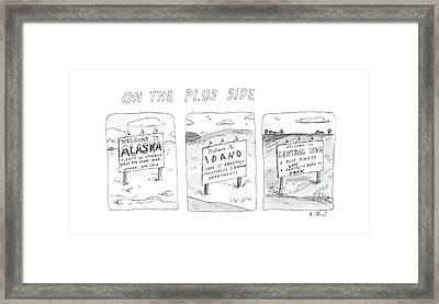 On The Plus Side Framed Print by Roz Chast