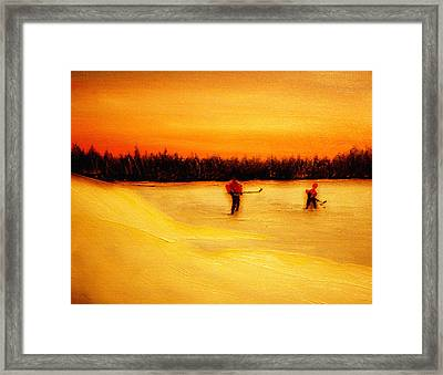 On The Pond With Dad Framed Print