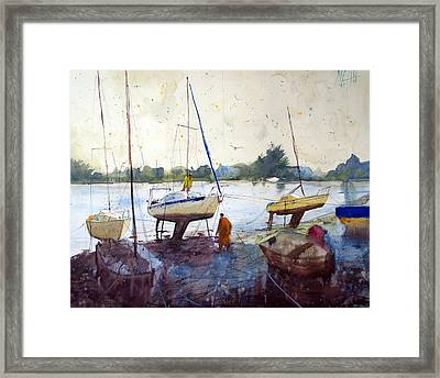 On The Riverbank Framed Print by Andre MEHU