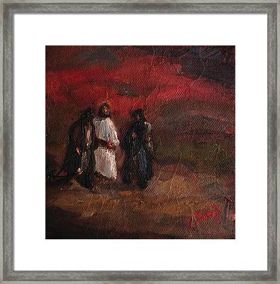 On The Road To Emmaus Framed Print