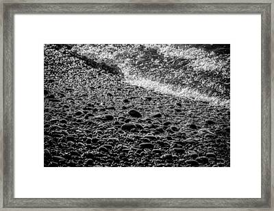 On The Rocks At French Beach Framed Print by Roxy Hurtubise