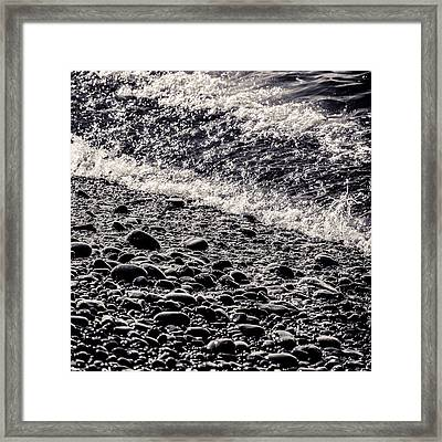 On The Rocks  French Beach Square Framed Print by Roxy Hurtubise
