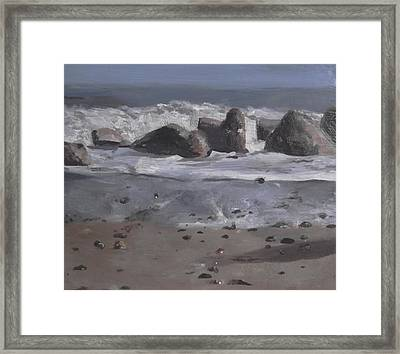 Framed Print featuring the painting On The Rocks by Cherise Foster