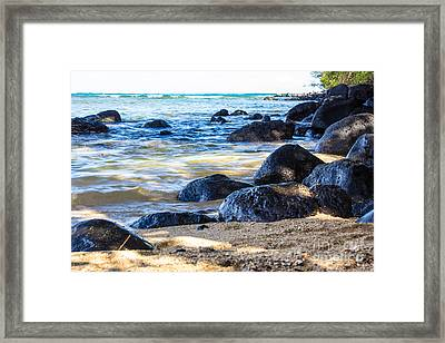 Framed Print featuring the photograph On The Rocks by Suzanne Luft