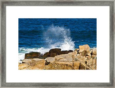 On The Rocks With A Splash Framed Print