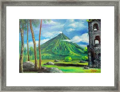 On The Spot Painting Of Mayon In Cagsawa Framed Print by Manuel Cadag