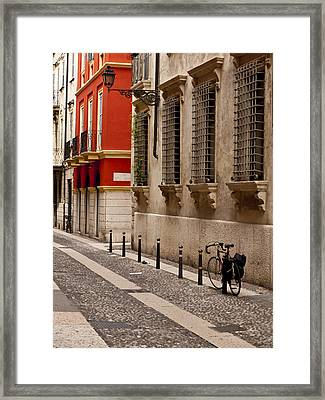 On The Streets Of Verona Framed Print by Rae Tucker