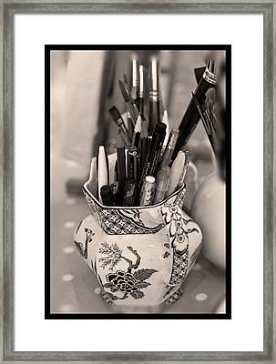 On The Studio Shelf Framed Print by Liz  Alderdice