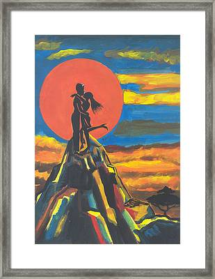 On The Summit Of Love Framed Print by Emmanuel Baliyanga