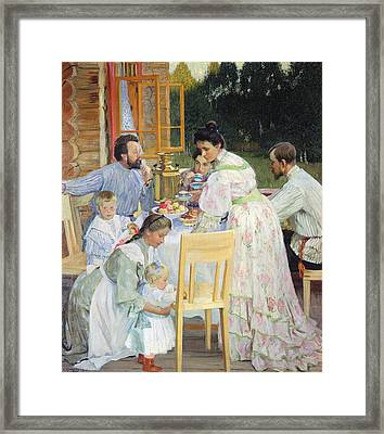 On The Terrace, 1906 Oil On Canvas Framed Print by Boris Mikhailovich Kustodiev