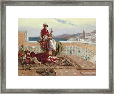 On The Terrace Tangiers Framed Print by Rudolphe Ernst