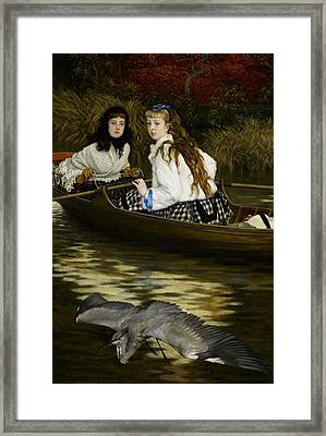 On The Thames     A Heron Framed Print by Tissot