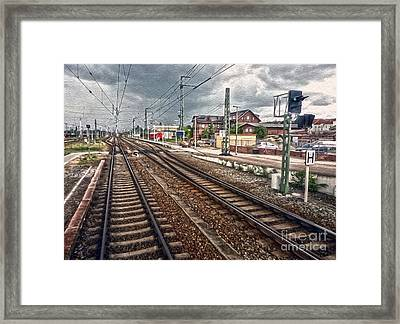 On The Tracks Framed Print by Gregory Dyer