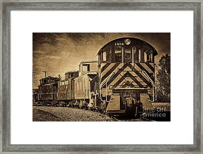 Framed Print featuring the photograph On The Tracks... Take Two. by Peggy Hughes