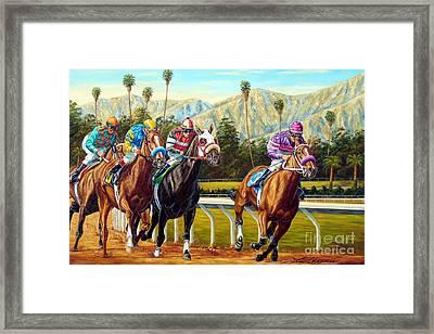 On The Turf At Santa Anita Framed Print