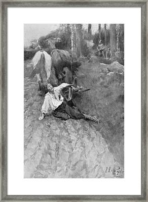 On The Warpath, Illustration From Colonies And Nations By Woodrow Wilson, Pub. In Harpers Magazine Framed Print by Howard Pyle