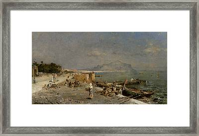 On The Waterfront At Palermo Framed Print by Franz Richard Unterberger