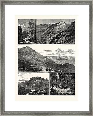 On The Way To An Indian Hill Station 1. At Menali Framed Print by Indian School