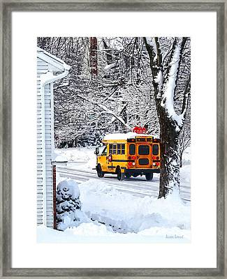On The Way To School In Winter Framed Print by Susan Savad