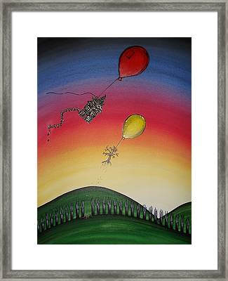 On The Way With Friends Framed Print