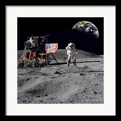 Neil Armstrong Moon Framed Prints