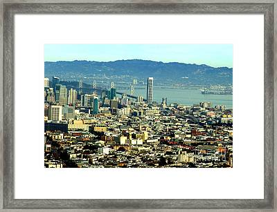 On Twin Peaks Over Looking The City By The Bay Framed Print by Jim Fitzpatrick