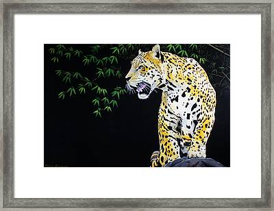 Onca And Bamboo Framed Print by Chikako Hashimoto Lichnowsky