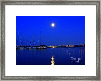 Once In A Blue Moon Twilight At The Marina Framed Print