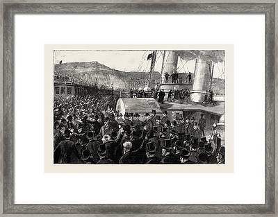 Once More On English Soil, Arrival Of Stanley Framed Print by English School