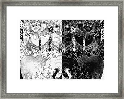 One And All - Black And White Framed Print by Helena Tiainen