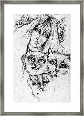 One Angel Three Cats Framed Print by Angel  Tarantella