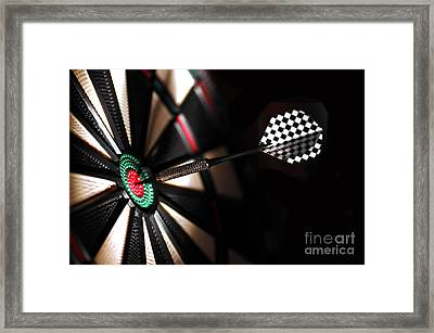 One Arrow In The Centre Of A Dart Board Framed Print by Michal Bednarek