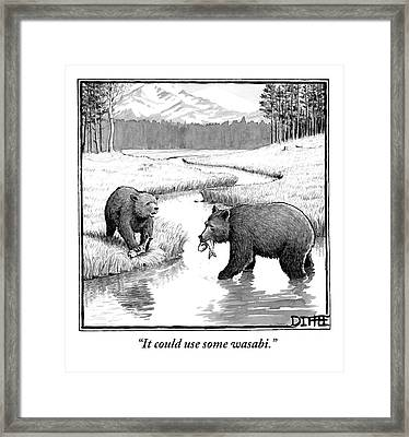 One Bear Speaks To Another As They Catch Fish Framed Print