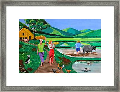 One Beautiful Morning In The Farm Framed Print by Cyril Maza
