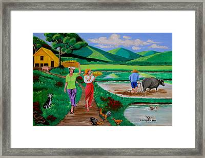 One Beautiful Morning In The Farm Framed Print by Lorna Maza