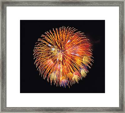 One Big Circle Of Fireworks With Black Framed Print by Panoramic Images