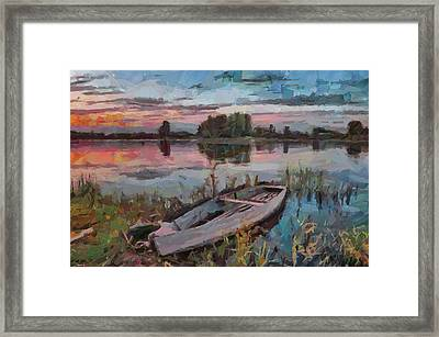 One Boat Sunset 1 Framed Print by Yury Malkov
