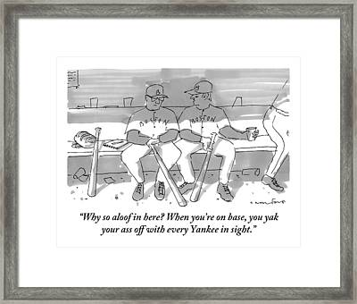 One Boston Red Sox Player Addresses Another Framed Print by Michael Crawford