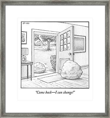 One Boulder Speaks To Another Boulder That Framed Print by Harry Bliss
