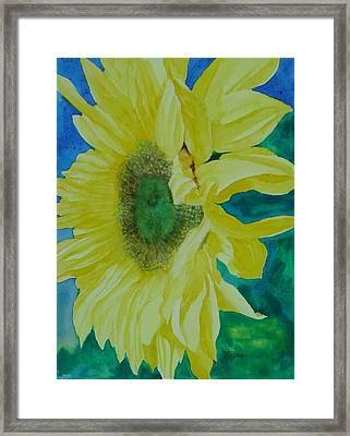 One Bright Sunflower Colorful Original Art Floral Flowers Artist K. Joann Russell Decor Art  Framed Print