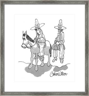 One Cowboy Talks To A Second Who Is Sitting Framed Print