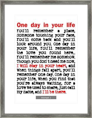 One Day In Your Life Michael Jackson Framed Print by Nik Helbig