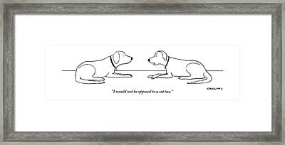 One Dog Says To Another Framed Print