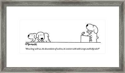 One Dog Speaks On A Podium To Several Framed Print