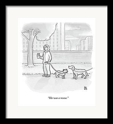 Dog Owner Drawings Framed Prints