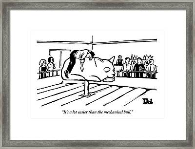 One Drinker To Another About A Man Passed Framed Print by Drew Dernavich