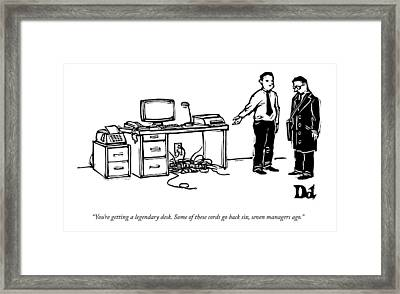 One Employee Shows Another A Desk Framed Print