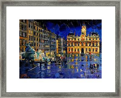 One Evening In Terreaux Square Lyon Framed Print by Mona Edulesco