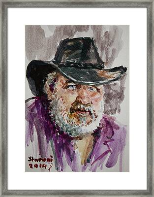One Eyed Cowboy  Framed Print by Ylli Haruni